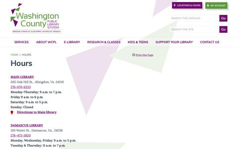Screenshot of Hours Page wcpl.net - Hours - Washington County Public Library System - captured May 30, 2019