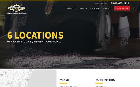 Screenshot of Locations Page driveway.net - Commercial Asphalt Paving & Repair Services | Parking Lot Maintenance Company | 6 Florida Locations | Driveway Maintenance Inc. - captured Oct. 9, 2018