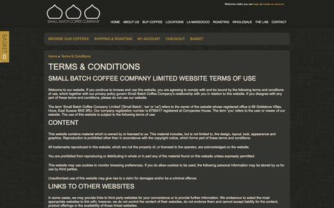 Screenshot of Terms Page smallbatchcoffee.co.uk - Buy Coffee Beans | Terms & Conditions - captured Oct. 4, 2014