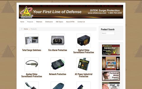 Screenshot of Products Page ditekcorp.com - DITEK Surge Protection - Products - captured July 31, 2016
