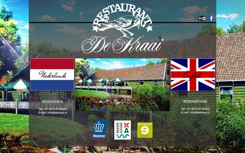Screenshot of Home Page dekraai.nl - Restaurant de Kraai - de Zaanse Schans, Zaandam - captured Oct. 12, 2015