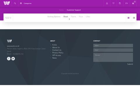 Screenshot of Support Page easywork.co.id - Customer Support - EasyWork - captured Dec. 14, 2018