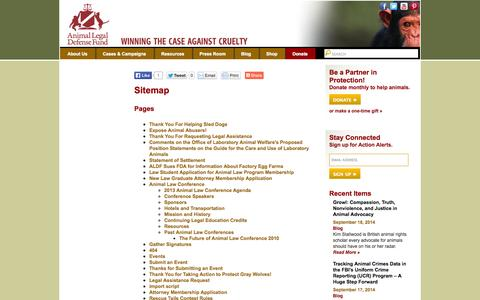 Screenshot of Site Map Page aldf.org - Sitemap | Animal Legal Defense Fund - captured Sept. 22, 2014