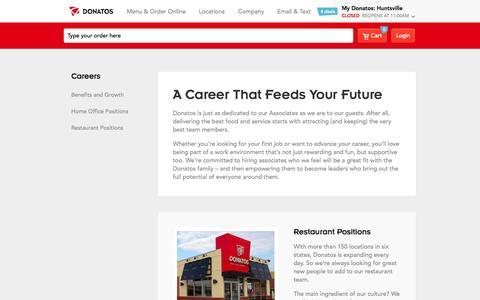 Screenshot of Jobs Page donatos.com - Careers | donatos.com - captured Sept. 22, 2014