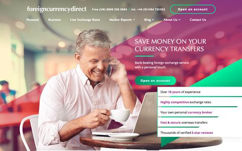 Screenshot of Home Page currencies.co.uk - Foreign Currency Direct | Currency Exchange & Transfers - captured Oct. 10, 2018