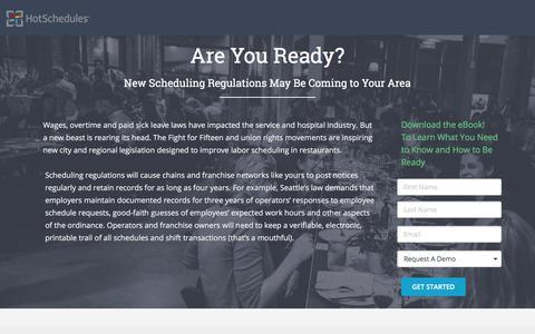 Screenshot of Landing Page hotschedules.com - HotSchedules eBook: Predictive Scheduling - captured March 8, 2018