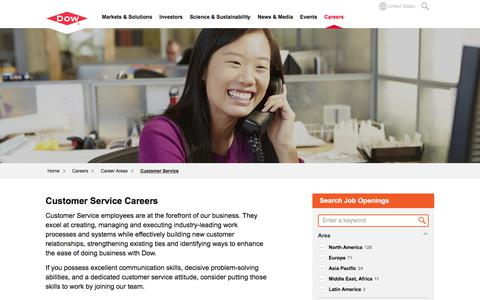 Screenshot of Support Page dow.com - Customer Service Careers | Dow - captured Oct. 20, 2017