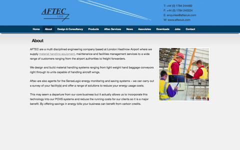 Screenshot of About Page aftecuk.com - Material Handling Engineering Company London Heathrow - captured Oct. 4, 2014