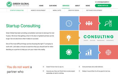 Screenshot of Services Page greenglobal.vn - Startup Consulting - captured Sept. 10, 2017