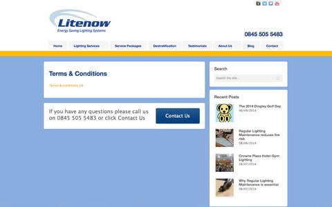Screenshot of Terms Page litenow.co.uk - Terms & Conditions - LitenowLitenow - captured Oct. 2, 2014