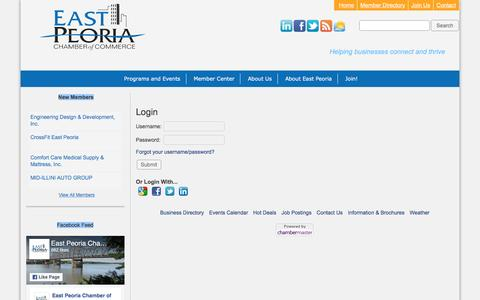 Screenshot of Login Page epcc.org - Login - East Peoria Chamber of Commerce - captured Oct. 19, 2016