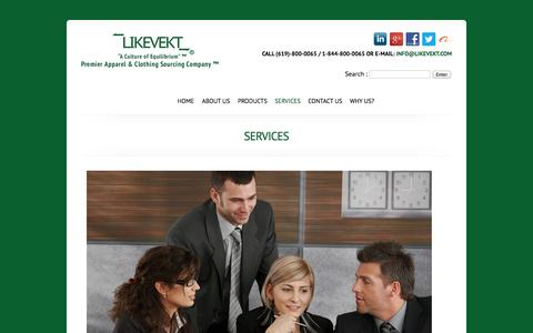 Screenshot of Services Page likevekt.com - Likevekt Corp. A Premier Apparel & Clothing Sourcing Company. Toll Free 1-844-800-0065. - captured Oct. 1, 2014
