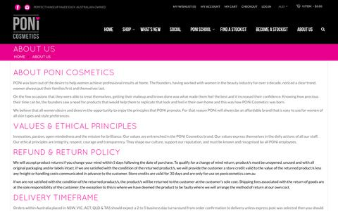 Screenshot of About Page ponicosmetics.com.au - ABOUT US - captured July 9, 2016