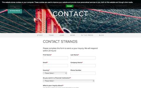 Screenshot of Contact Page strands.com - Contact & Get in Touch with Strands - Strands Finance - captured April 7, 2017