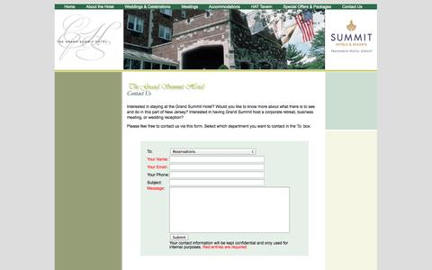 Screenshot of Contact Page grandsummit.com - The Grand Summit Hotel - Contact Us - captured Oct. 6, 2014