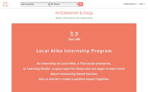 Screenshot of FAQ Page localalike.com - Local Alike   INTERNSHIP & FAQs - captured Nov. 5, 2018