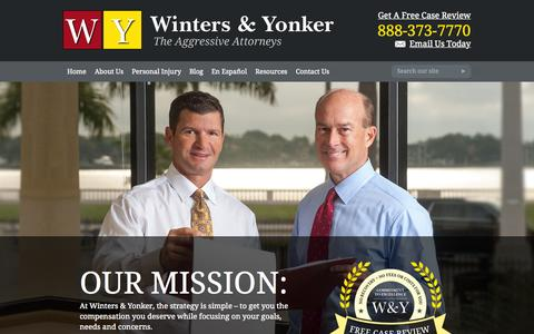 Screenshot of Home Page wintersandyonker.com - Tampa Personal Injury Lawyers - captured Sept. 4, 2015