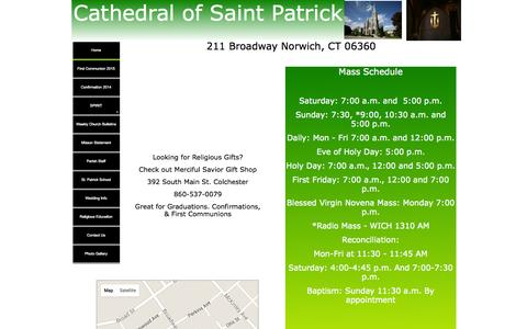 Screenshot of Home Page stpatsnorwich.org - Cathedral of Saint Patrick - Norwich - captured Oct. 12, 2015
