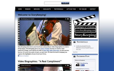 Screenshot of Home Page storykeeping.com - StoryKeeping - captured Oct. 7, 2014