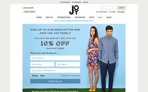 Screenshot of Signup Page joythestore.com - Sign Up - captured Sept. 23, 2014