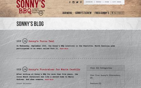 Screenshot of Blog sonnysbbq.com - Sonny's BBQ Blog l Sonny's BBQ - captured Sept. 25, 2014