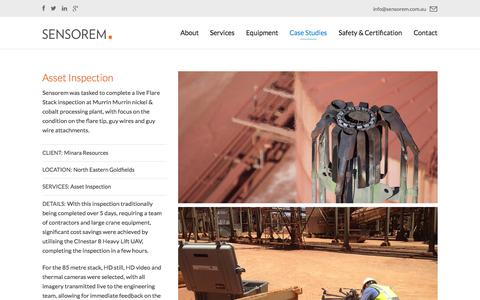 Screenshot of Case Studies Page sensorem.com.au - Asset Inspection - Sensorem - captured Oct. 27, 2014