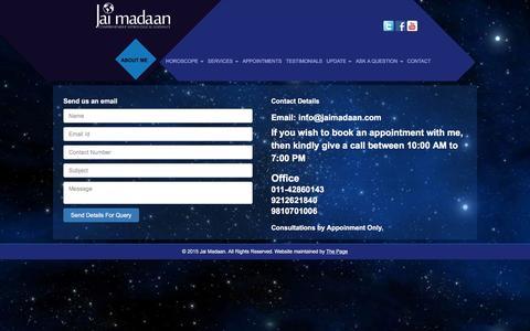 Screenshot of Contact Page jaimadaan.com - Contact Jai Madaan | Relationship Expert | Vastu Expert | Renowned Astrologer | Jaimadaan - captured Jan. 9, 2016