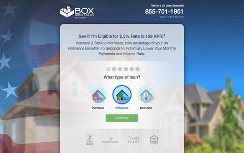 Screenshot of Home Page valoansupport.com - Box Home Loans - captured July 8, 2018