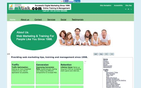 Screenshot of Home Page mklink.com - Internet Marketing Tips and Training in UK and Australia - captured Sept. 12, 2015
