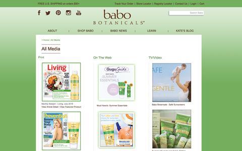 Screenshot of Press Page babobotanicals.com - Babo Botanicals | All Media - captured July 27, 2016