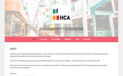Screenshot of About Page hublife.ca - About – HUB COMMUNITY ASSOCIATION - captured Sept. 26, 2018
