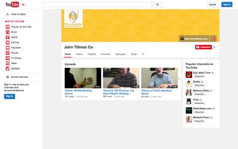 Screenshot of YouTube Page youtube.com - John Tillman Co  - YouTube - captured Oct. 23, 2014