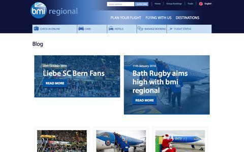 Screenshot of Blog bmiregional.com - BMI Flights and Travel Blog bmi regional airlines - captured Nov. 23, 2016
