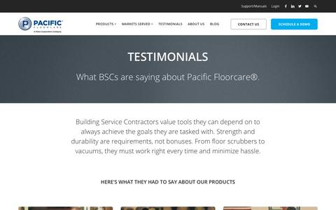 Screenshot of Testimonials Page pacificfloorcare.com - Testimonials   Pacific Floorcare   Floor Cleaning Equipment - captured July 15, 2018