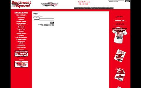 Screenshot of Login Page southwestspeed.com - Southwest Speed - Manufacturing, Warehousing, and Distributing Race Car Parts Since 1975. - captured Nov. 5, 2014