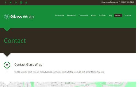Screenshot of Contact Page glasswrap.com - Glass Wrap | Contact - Pensacola, FL - captured Oct. 31, 2016