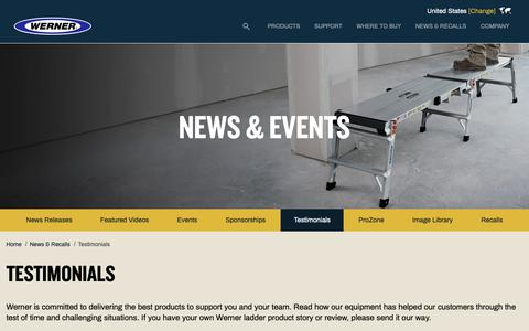 Screenshot of Testimonials Page wernerco.com - Testimonials | Werner US - captured Nov. 8, 2018