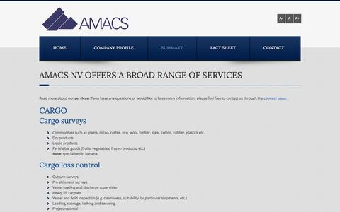 Screenshot of Services Page amacs.be - Services of Amacs NV in Schoten - Amacs nv - Schoten - captured Dec. 22, 2015