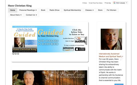 Screenshot of Home Page hansking.com - Internationally Acclaimed Psychic Medium.  Appointment line 1-800-406-9027 - Home - captured Sept. 27, 2018