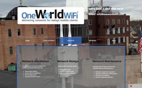Screenshot of Services Page oneworldwifi.com - www.oneworldwifi.com, One World WiFi, Wireless Network | SERVICES - captured Nov. 29, 2016