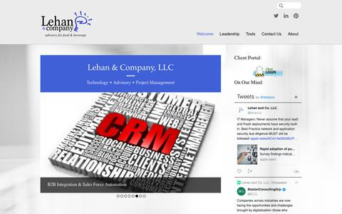 Screenshot of Home Page lehan.com - Lehan & Company, LLC | Advisory for Food & Beverage - captured Sept. 28, 2018