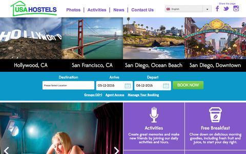 Screenshot of Home Page usahostels.com - San Francisco Hostels, Hollywood, San Diego & California Hostels - captured Dec. 5, 2016