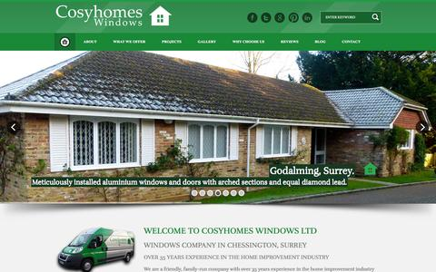 Screenshot of Home Page cosyhomeswindows.com - Windows Company in Chessington, Surrey | Cosyhomes Windows Surrey - captured Dec. 12, 2015