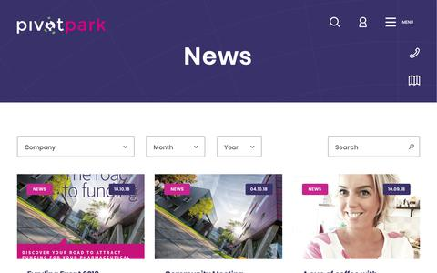 Screenshot of Press Page pivotpark.com - News   Pivot Park - captured Oct. 21, 2018