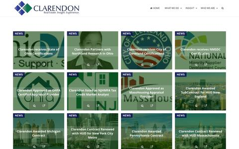 Screenshot of Press Page clarendon.com - News – Clarendon - captured July 13, 2016