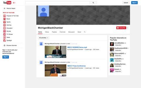 Screenshot of YouTube Page youtube.com - MichiganBlackChamber  - YouTube - captured Oct. 27, 2014