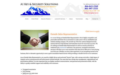 Screenshot of Jobs Page a-1keyservice.com - Careers | Sales Position | A1 Key and Security - captured Oct. 3, 2014