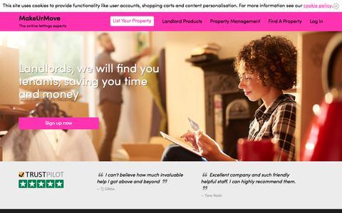 Screenshot of Home Page makeurmove.co.uk - MakeUrMove - Online Letting Expert - captured Oct. 15, 2017