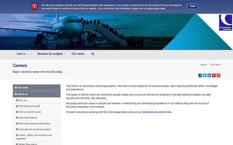 Screenshot of Jobs Page caa.co.uk - Careers   UK Civil Aviation Authority - captured Nov. 6, 2016