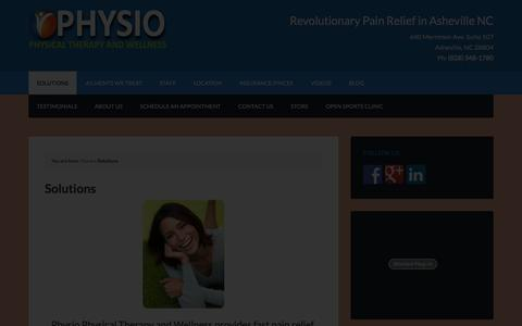 Screenshot of Services Page physiownc.com - Pain Relief Solutions | Physio Physical Therapy Asheville, NC - captured Jan. 28, 2016
